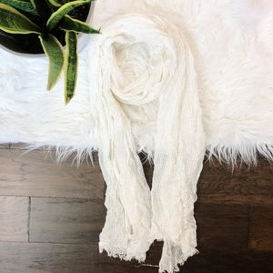 Cream Off White Scarf Knit Rectangle
